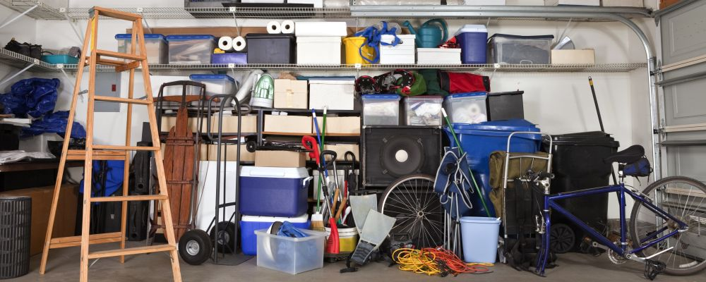 Cluttered garage or storage space with household items